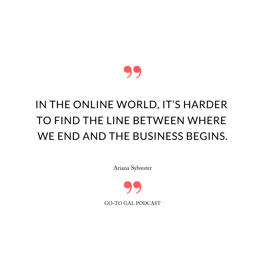 In the online world, it's harder to find the line between where we end and the business begins.